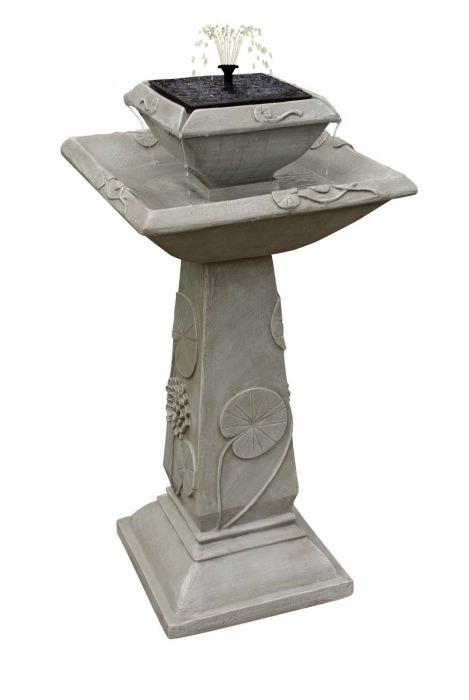 79cm Spring Lily Solar Bird Bath Water Feature with Lights by Solaray™