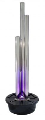 "6ft 1""/185cm X-Large Advanced 3 Polished Tubes Water Feature With Lights On Tubes & Base by Ambienté - Stainless Steel"