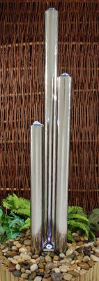 "2ft 33""/85cm Small Advanced 3 Polished Tubes Water Feature With Lights On Tubes & Base  - Stainless Steel"