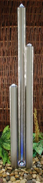 6ft/183cm X-Large Stainless Steel Advanced 3 Brushed Tubes Water Feature With Lights On Tubes & Base by Ambienté™