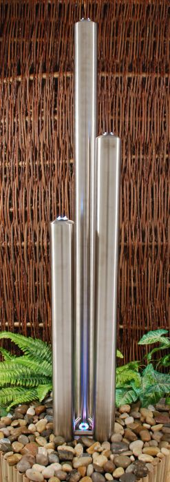 H156cm 3 Brushed Tubes Stainless Steel Water Feature with Lights | Indoor/Outdoor Use by Ambienté