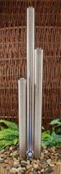 5ft/153cm Large Stainless Steel Advanced 3 Brushed Tubes Water Feature With Lights on Tubes & Base by Ambienté™