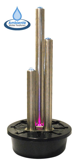 H121cm 3 Brushed Tubes Stainless Steel Water Feature with Lights by Ambienté