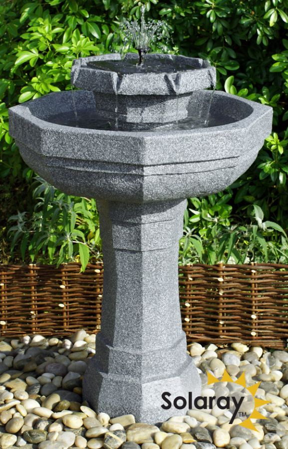 H75cm Castille Solar Bird Bath Water Feature with Lights by Solaray