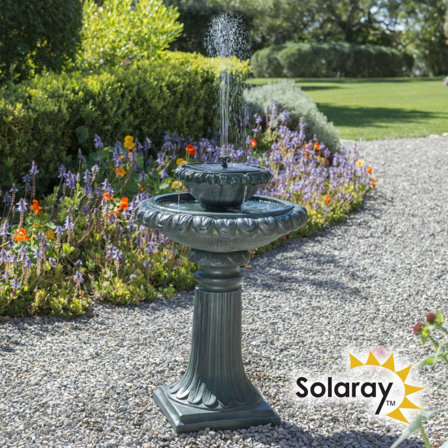 H79cm Victoriana Solar Bird Bath Water Feature with Lights by Solaray