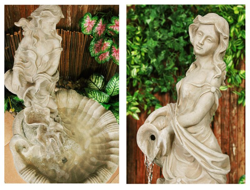 Liliana Water Feature Figurine in Pearl H97cm - by Ambienté™
