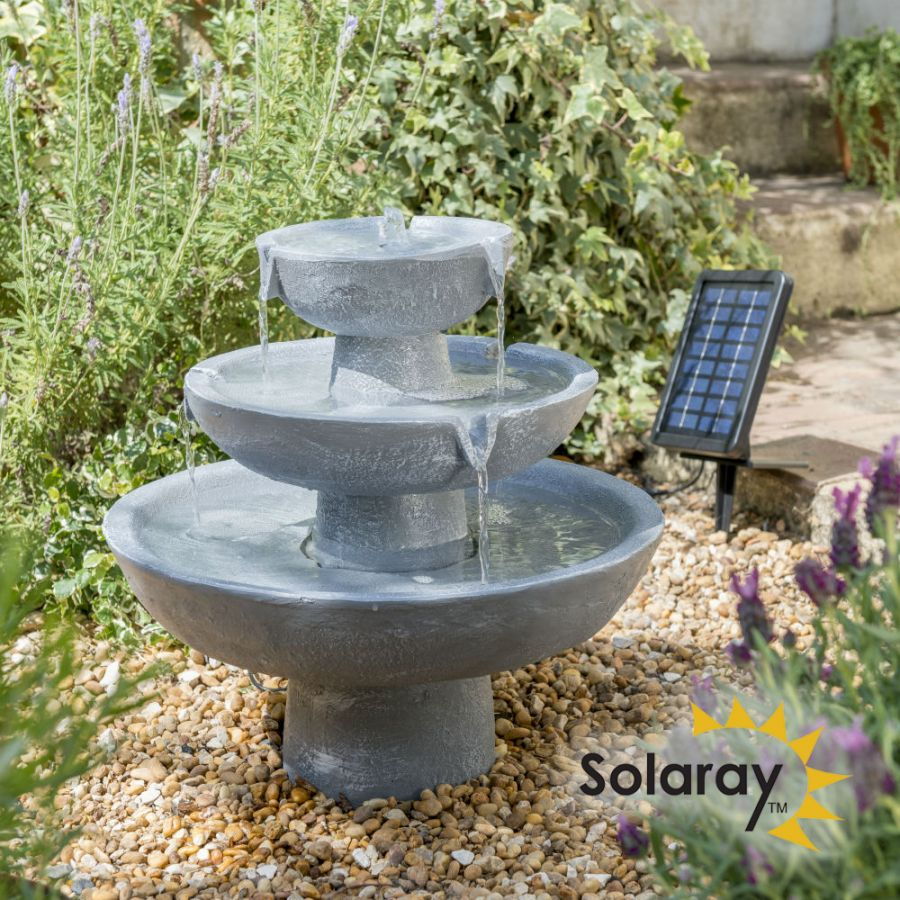 H42cm Hatfield 3-Tier Cascading Water Feature by Solaray