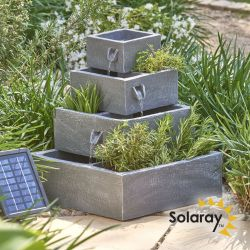 H42cm Perth Solar 4-Tier Herb Planter Casacading Water Feature by Solaray