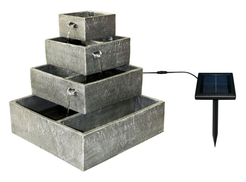 42cm Perth Square 4-Tier Solar Water Feature Cascading Herb Planter by Solaray™