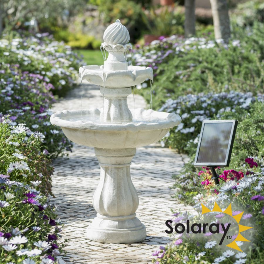 92cm White Imperial Tiered Solar Fountain by Solaray™