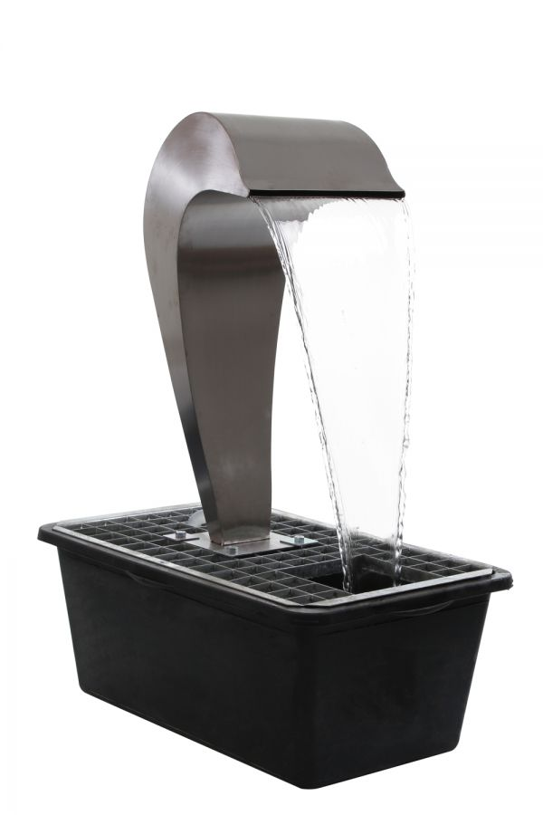 Dolphin Falls Free Standing Stainless Steel Water Feature With Plastic Reservoir by Ambienté™