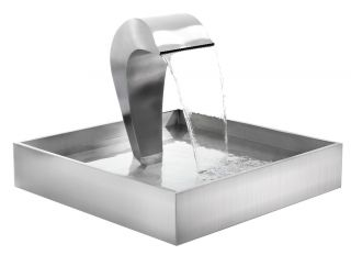 Dolphin Falls Free Standing Stainless Steel Water Feature With Stainless Steel Reservoir by Ambienté™