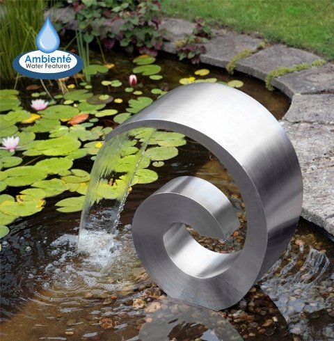 Ammonite 66cm (2ft 2in) Stainless Steel Cascading Water Feature with Plastic Reservoir by Ambienté™