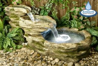 H63cm Cascading Stone River Water Feature with Lights | Indoor/Outdoor Use by Ambienté