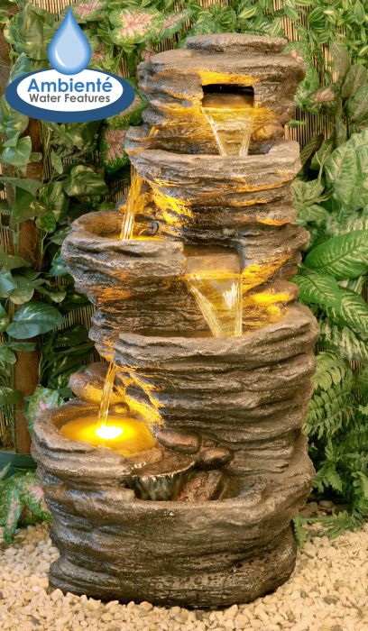 H100cm 4-Tier Rock Pool Cascading Water Feature with Lights | Indoor/Outdoor Use by Ambienté