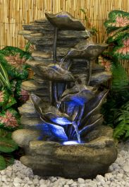 H54cm Silver Leaf Rock Falls 6 Tier Water Feature with Lights - By Ambienté