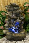 Silver Leaf Rock Falls Water Feature with LED Lights