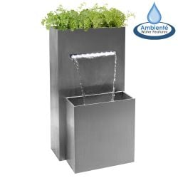 H89cm Berkeley Stainless Steel Waterfall Planter with Lights | Indoor/Outdoor Use by Ambienté