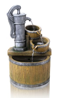 Bowden Barrel and Tap Cascade Water Feature with Lights by Ambienté