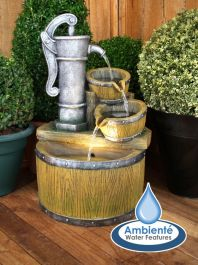 Bowden Barrel and Tap Cascade Water Feature with Lights by Ambienté™
