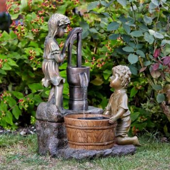 Smart Garden Boy and Girl Pump Solar Water Fountain