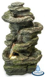 38.5cm 4-Tier Conway Falls Rock Cascade Tabletop Water Feature with Lights - By Ambienté