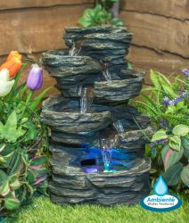 35cm 5-Tier Lodore Falls Rock Cascade Tabletop Water Feature with Lights - By Ambienté