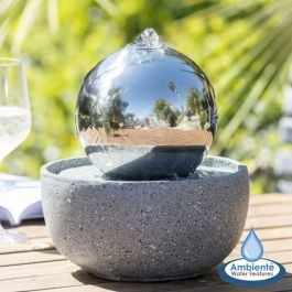 15cm Eclipse Stainless Steel Sphere Water Feature with LED lights by Ambienté