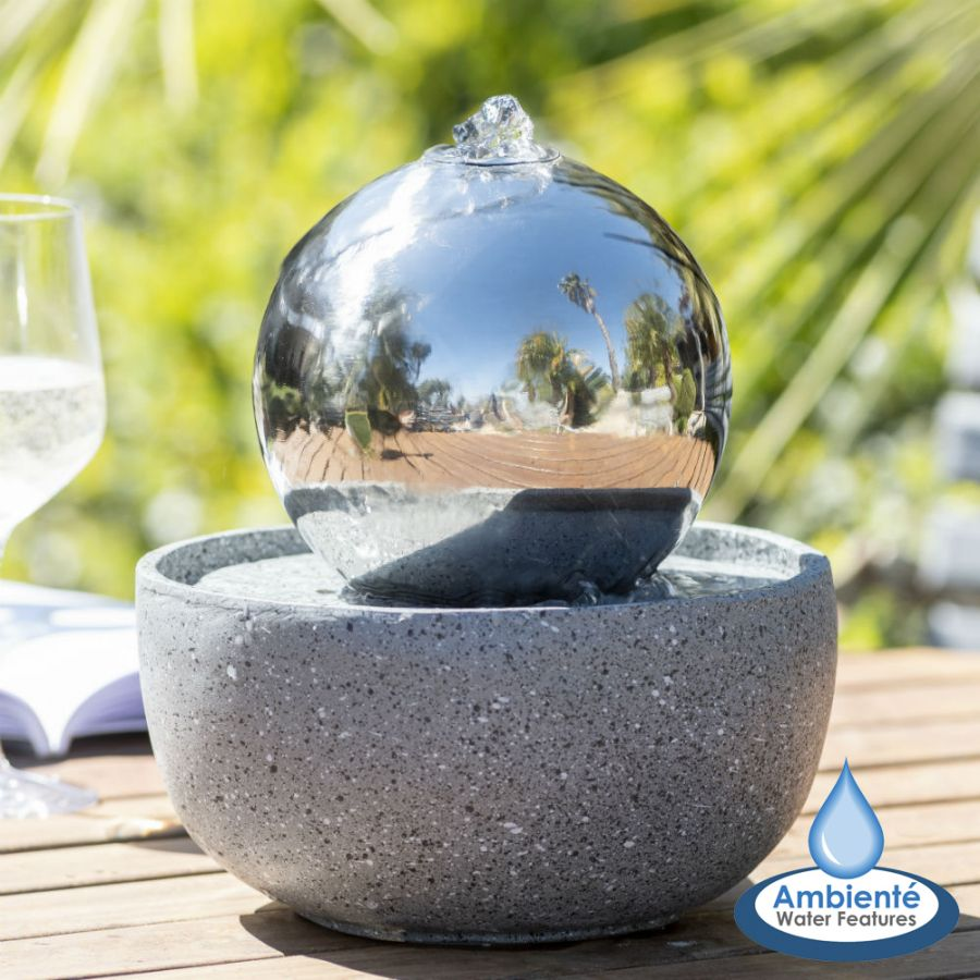 H23cm Eclipse Sphere Stainless Steel Water Feature with Lights | Indoor/Outdoor Use - by Ambienté