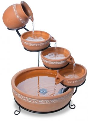 55cm Ladonas Inlaid Terracotta Solar Cascade Water Feature with Battery Backup and LED Lights by Solaray™
