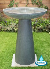 H64cm Patina Fibrecotta Bird Bath by Ambienté