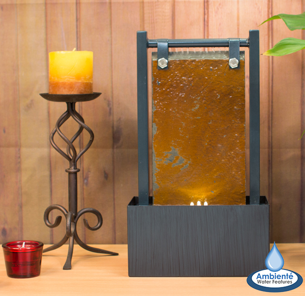 36cm Bernoulli Zinc and Slate Tabletop Wall Water Feature with LED Lights - by Ambienté™