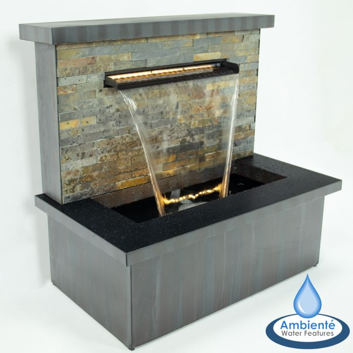 70cm Zinc and Stone Sorrento Trough Blade Cascade Water Feature with Lights by Ambienté™