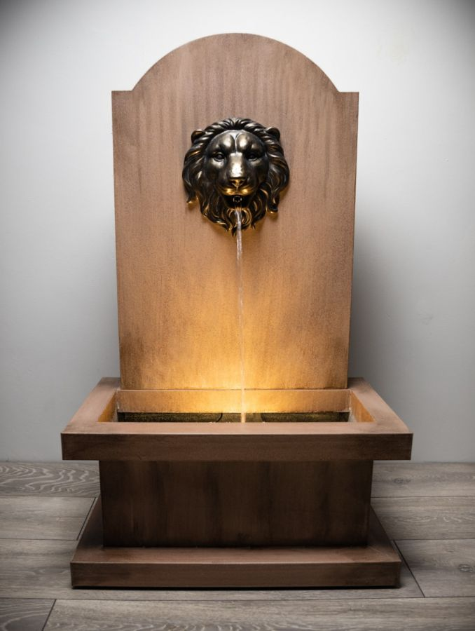 1m Stone Effect Zinc Torino Water Feature with Lion Head Spout and Lights by Ambienté™