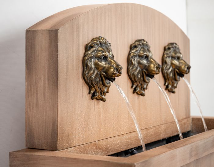 1m Trough Torino Water Feature with Lion Head Spout and Lights by Ambienté™