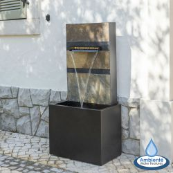 H100cm Alhambra Zinc & Stone Water Feature with Lights by Ambienté