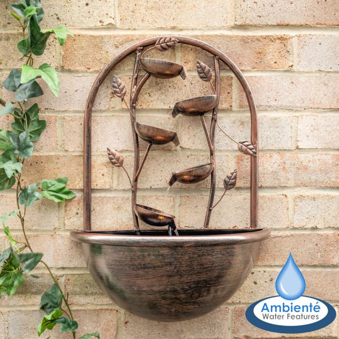 H55cm Olso Cascading Leaf Wall-Mounted Water Feature with Lights by Ambienté
