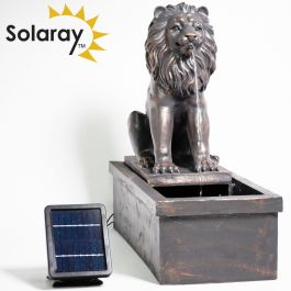 70cm Sitting Lion Solar Water Feature with Lights by Solaray™