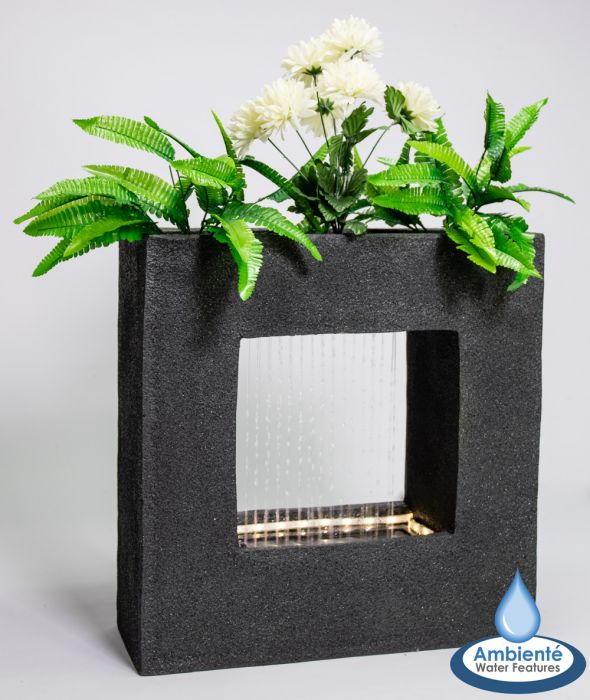 H56cm Rain Effect Water Feature with Planter | Indoor/Outdoor Use by Ambienté