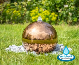 H28cm Copper Effect Sphere Stainless Steel Water Feature with Lights - Outdoor use - by Ambienté