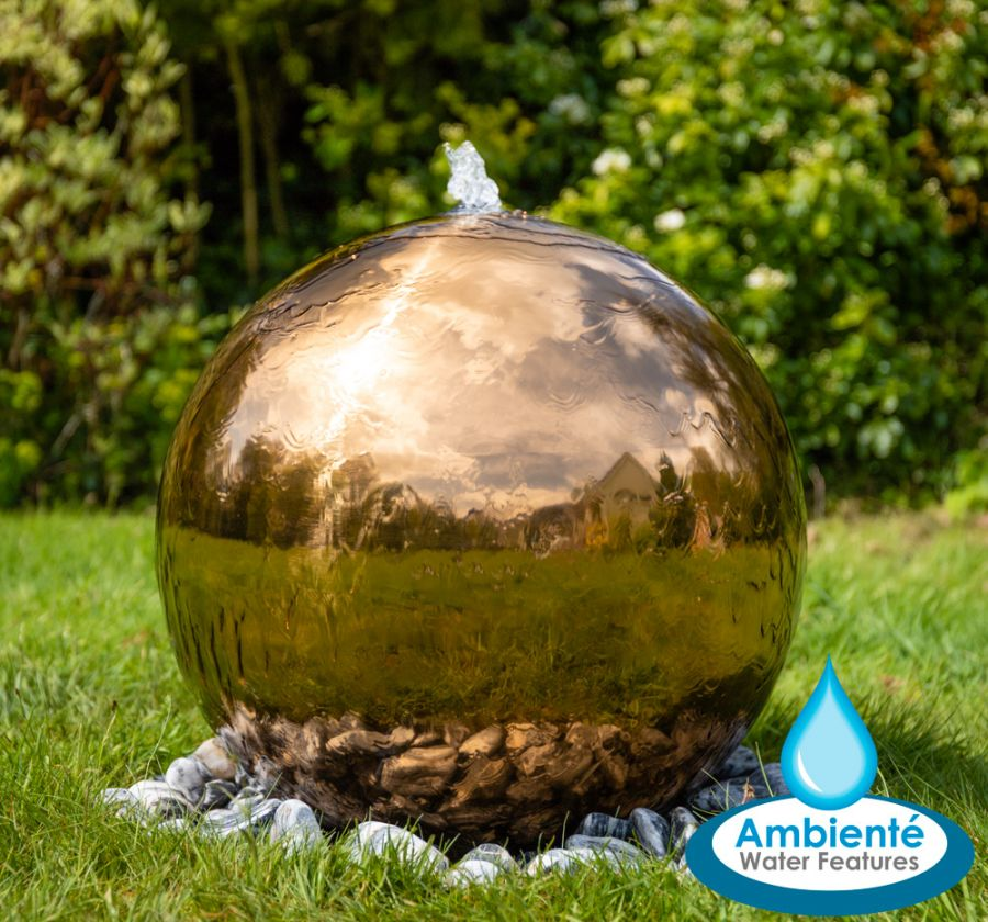 H45cm Copper Effect Sphere Stainless Steel Water Feature - by Ambienté