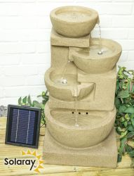 72cm Solar Kendal 3-tier Cascade Water Feature with Lights by Solaray™