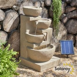 72cm Solar Kendal 4-tier Cascade Water Feature with Lights by Solaray™