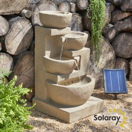 H72cm Kendal 4-Tier Cascading Solar Water Feature with Lights by Solaray