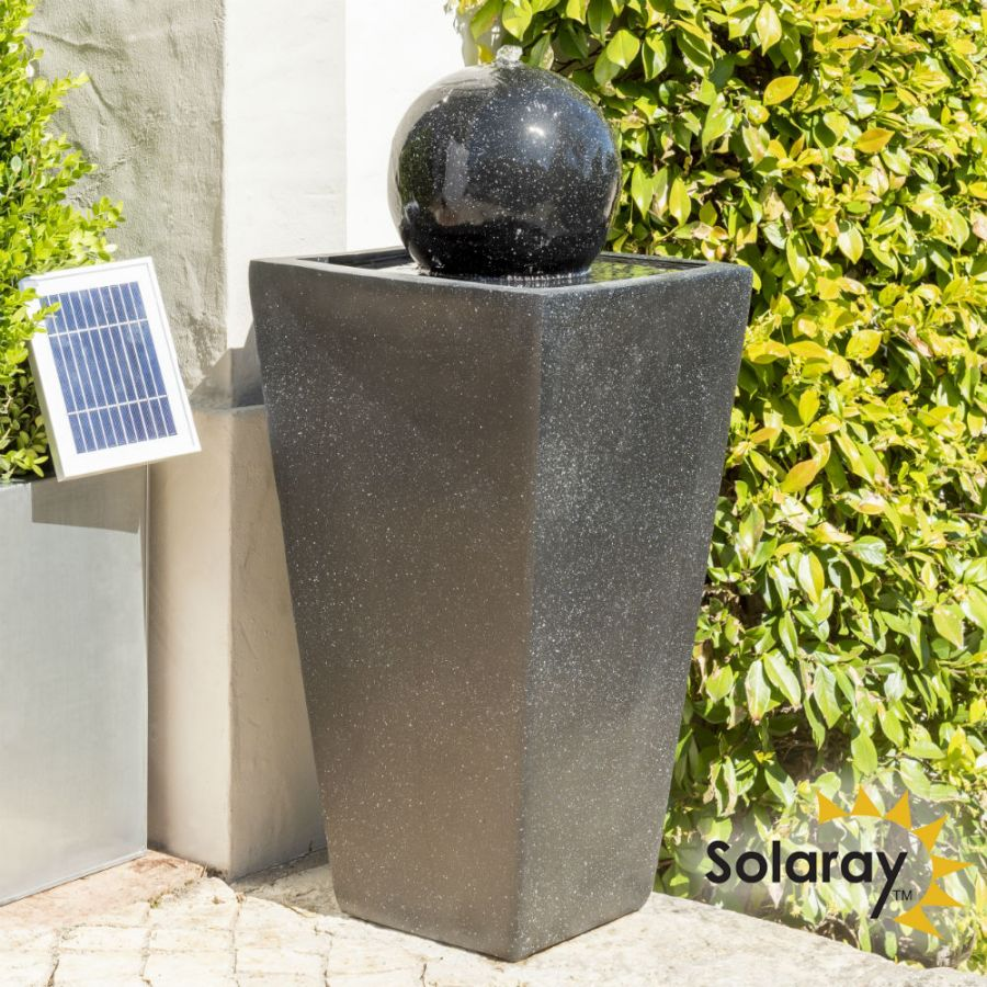 H82cm Manila Solar Sphere Water Feature with Lights by Solaray