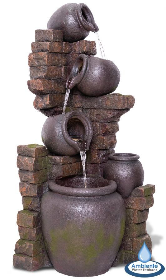 H120cm York 3-Tier Cascading Jars Water Feature & Planter with Lights by Ambienté