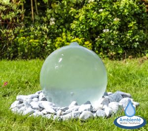 W30cm Translucent Sphere Water Feature with Colour Changing LEDs by Ambienté