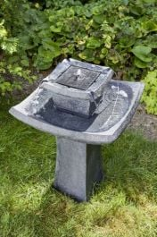 Solar Powered Pagoda Fountain and Bird Bath