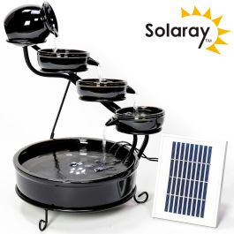 Solar Ceramic Cascade Water Feature with Battery Backup and LED Lights in Black by Solaray™