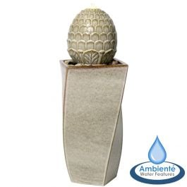 86cm Grey Olvera Ceramic Pineapple Water Feature with Lights by Ambienté™